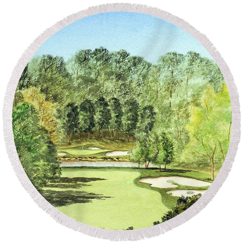 Glen Abbey Golf Course Painting Round Beach Towel featuring the painting Glen Abbey Golf Course Canada 11th Hole by Bill Holkham