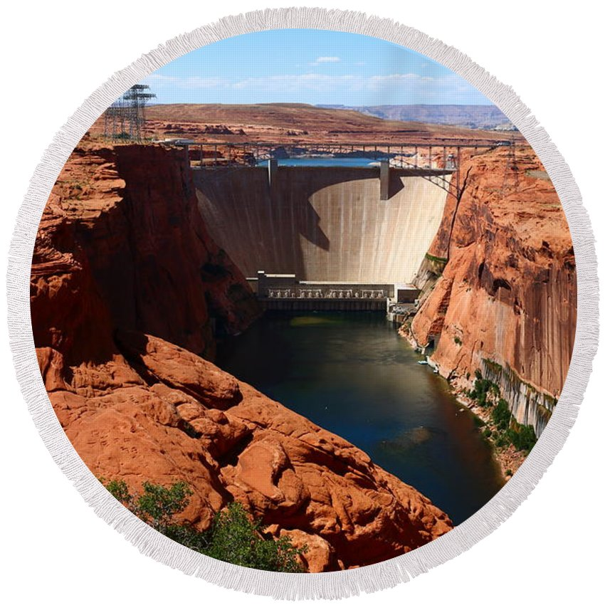 Dam Round Beach Towel featuring the photograph Glen Canyon Dam - Arizona by Christiane Schulze Art And Photography