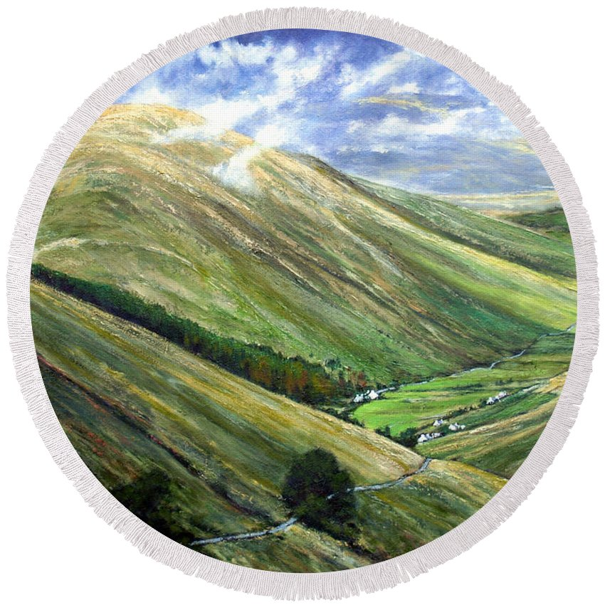 Landscapes Round Beach Towel featuring the painting Glen Gesh Ireland by Jim Gola