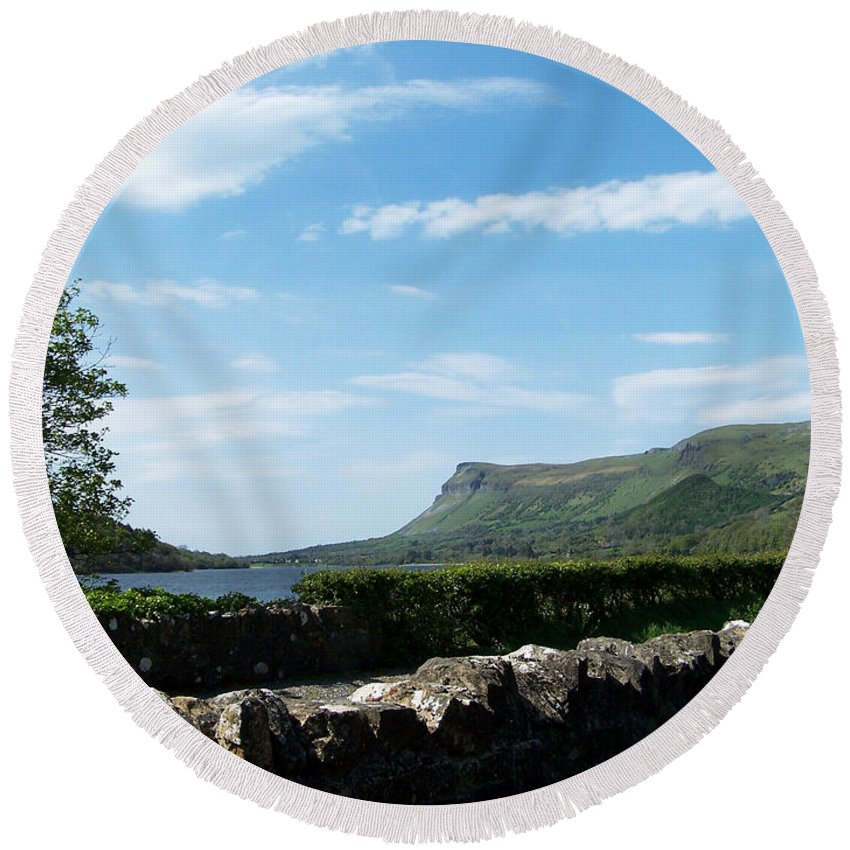 Irish Round Beach Towel featuring the photograph Glencar Lake With View Of Benbulben Ireland by Teresa Mucha