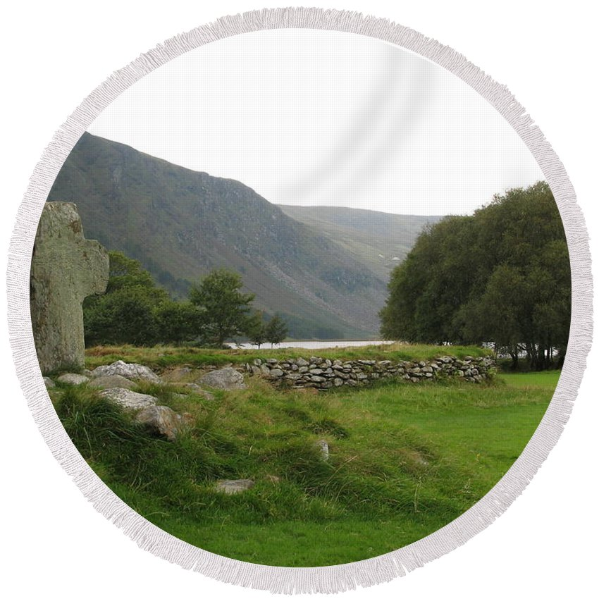 Glendalough Round Beach Towel featuring the photograph Glendalough by Kelly Mezzapelle