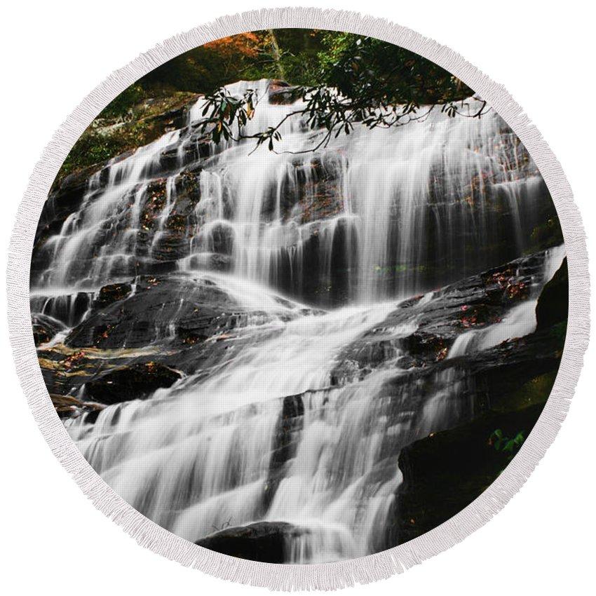 Water Waterfall Stream Creek Photography Photograph Nature Landscape North Carolina Glenn Falls Digital Art Flowing Round Beach Towel featuring the photograph Glenn Falls - Nc by Shari Jardina