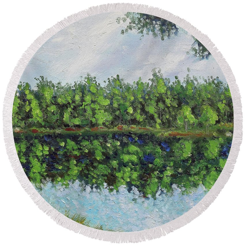 Landscape Round Beach Towel featuring the painting Glenoak Lake by Jason Williamson