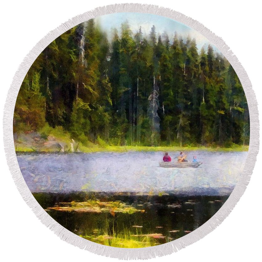 Boating Round Beach Towel featuring the painting Gliding Along by RC DeWinter