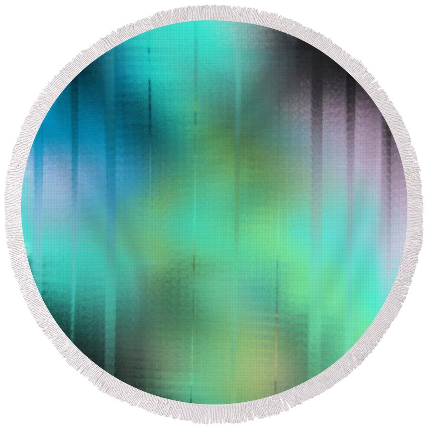 Abstract Round Beach Towel featuring the painting Glimpses by Frances Ku