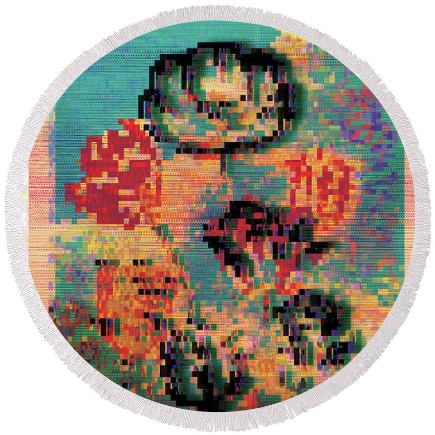 Tulips Round Beach Towel featuring the digital art Glitched Tulips by Bee-Bee Deigner