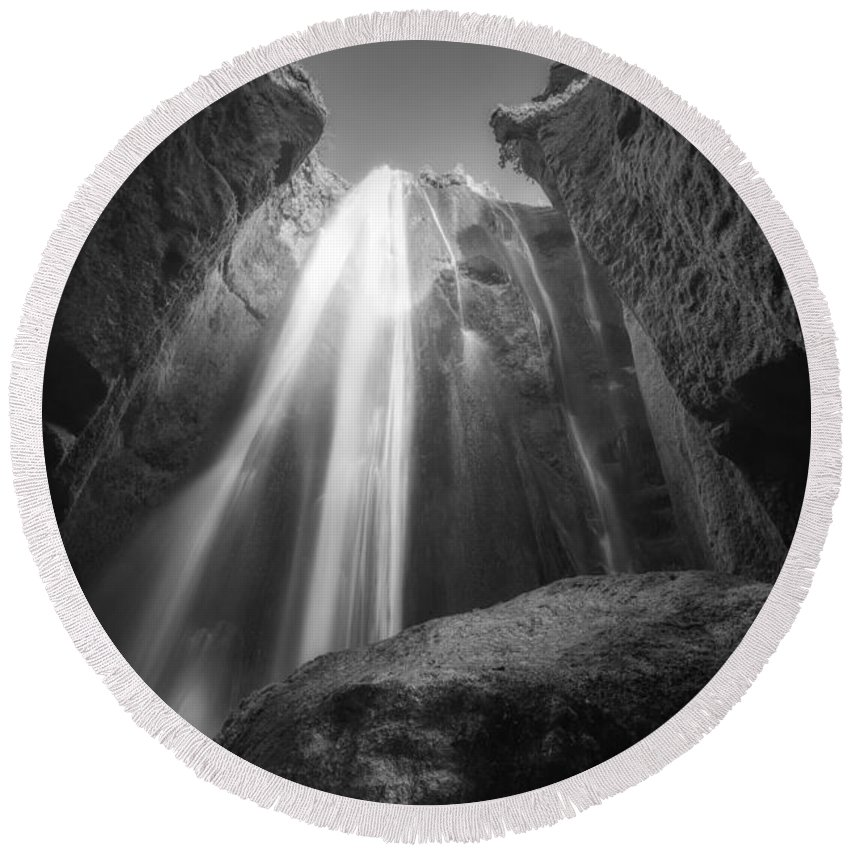 Gljugrabui Round Beach Towel featuring the photograph Gljufrabui Iceland Waterfall Bw by Michael Ver Sprill