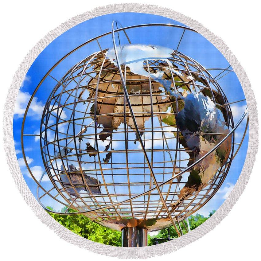 Globe At Columbus Circle Round Beach Towel featuring the painting Globe At Columbus Circle by Jeelan Clark