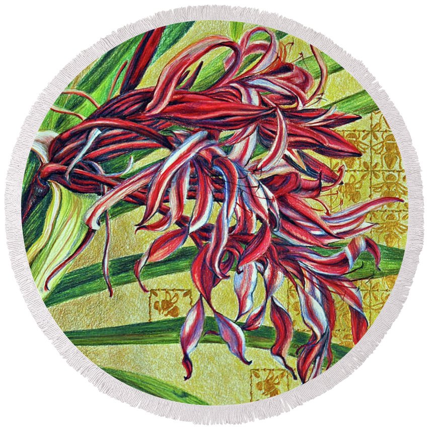 Mixed Media Round Beach Towel featuring the drawing Glorious Crinum by Suzanne McKee