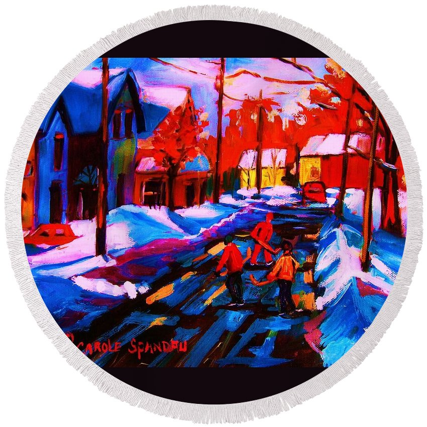 Streethockey Round Beach Towel featuring the painting Glorious Day For A Game by Carole Spandau