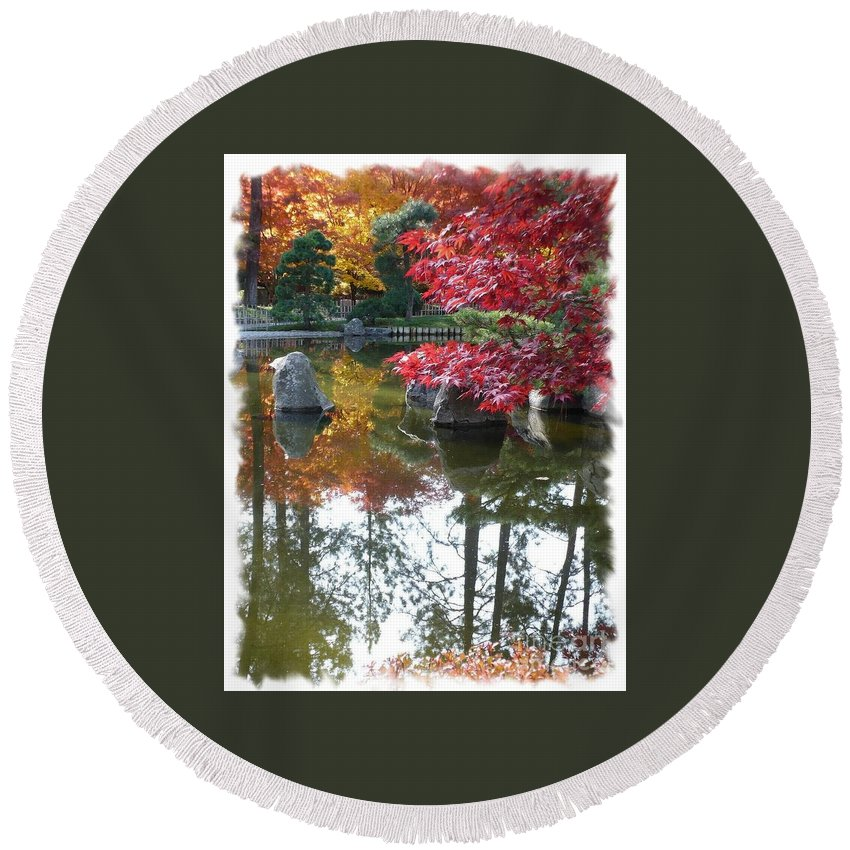 Autumn Round Beach Towel featuring the photograph Glorious Fall Colors Reflection With Border by Carol Groenen