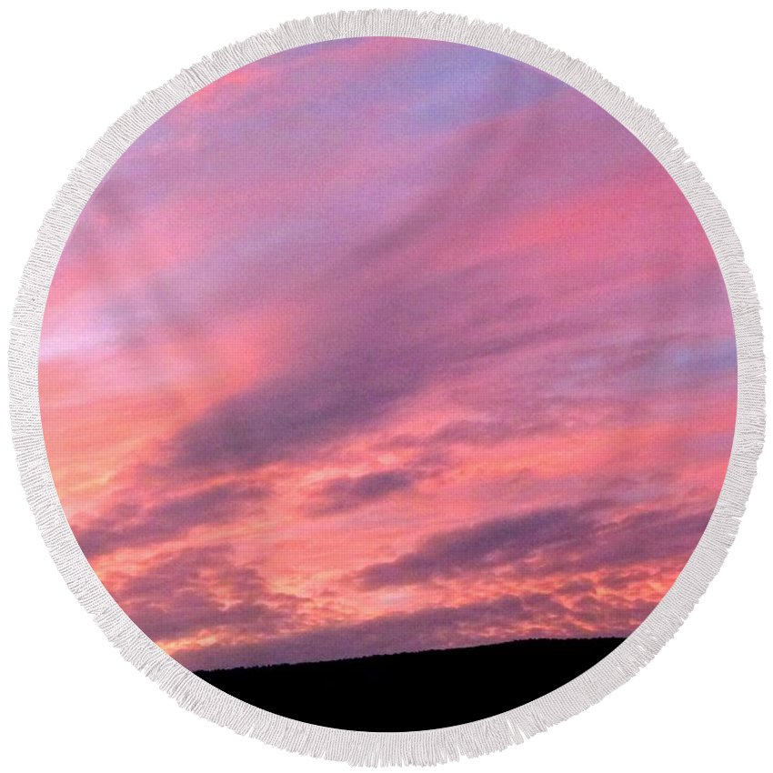 Sunset Round Beach Towel featuring the photograph Glorious Nightfall by Will Borden