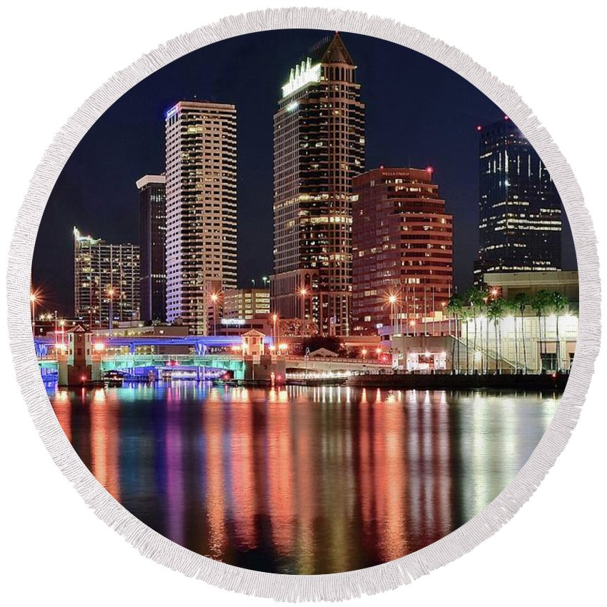 Tampa Round Beach Towel featuring the photograph Glorious Tampa Bay Florida by Frozen in Time Fine Art Photography