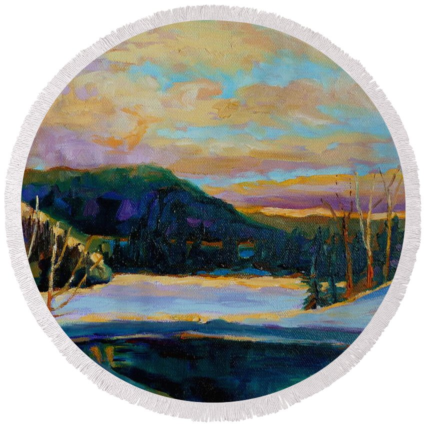 Vermont Round Beach Towel featuring the painting Glorious Winter Sunrise by Carole Spandau