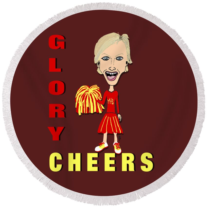 Glory Cheers Round Beach Towel featuring the drawing Glory Cheers by Pharris Art