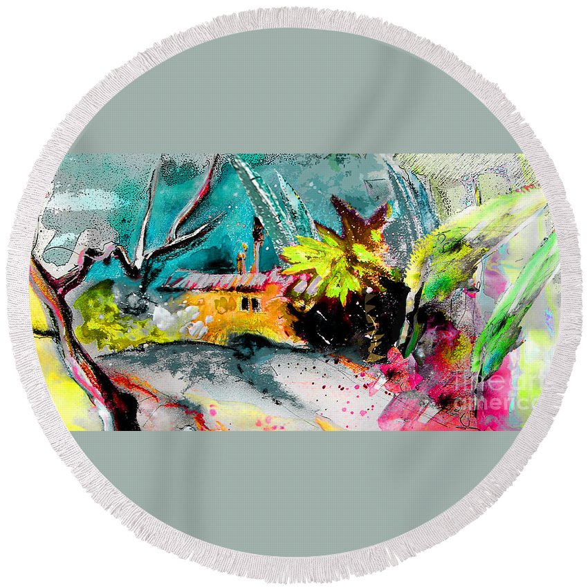 Pastel Painting Round Beach Towel featuring the painting Glory Of Nature by Miki De Goodaboom