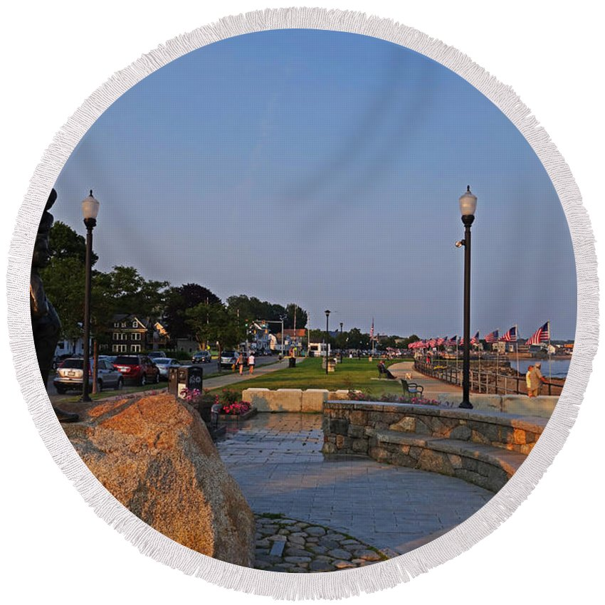 Gloucester Round Beach Towel featuring the photograph Gloucester Waterfront Gloucester Harbor by Toby McGuire