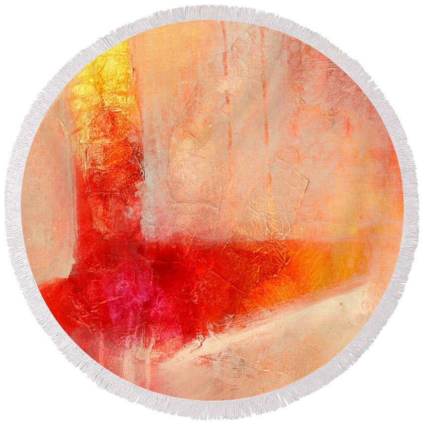 Orange Round Beach Towel featuring the painting Glow 2 Abstract Art by Nancy Merkle