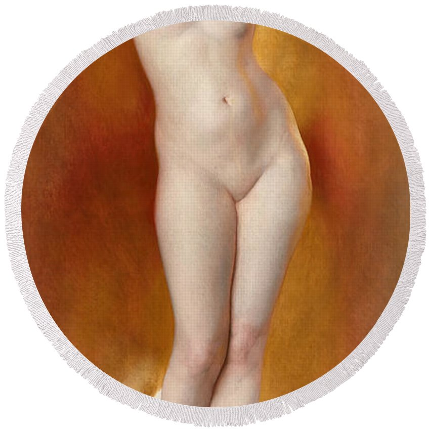 William Mcgregor Paxton Round Beach Towel featuring the painting Glow Of Gold. Gleam Of Pearl by William McGregor Paxton