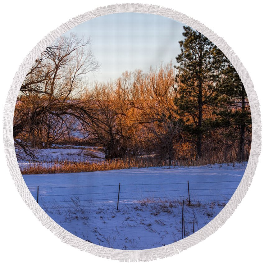 Landscape Round Beach Towel featuring the photograph Glowing Cottonwoods by Alana Thrower