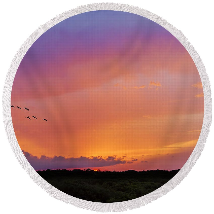 2d Round Beach Towel featuring the photograph Glowing Horizon by Brian Wallace
