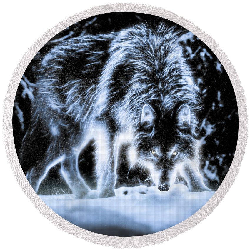 Animals Round Beach Towel featuring the photograph Glowing Wolf In The Gloom by Rikk Flohr