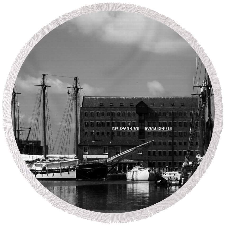 Gloucester Round Beach Towel featuring the photograph Gloucester Warehouse 2 by Lexa Harpell