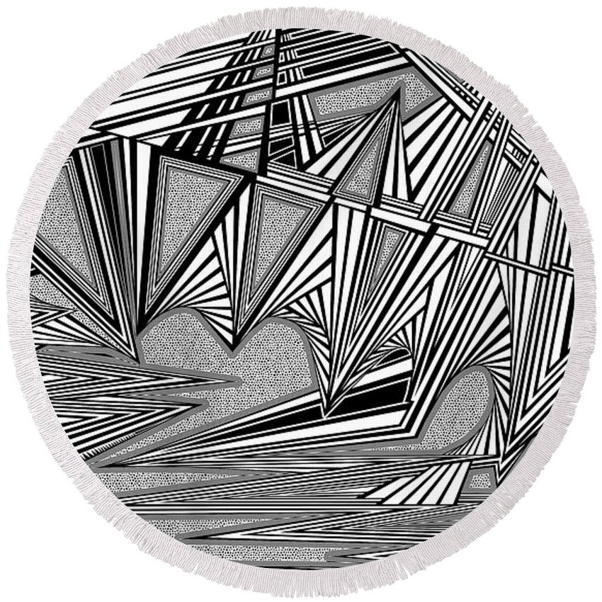 Dynamic Black And White Round Beach Towel featuring the painting gmo by Douglas Christian Larsen