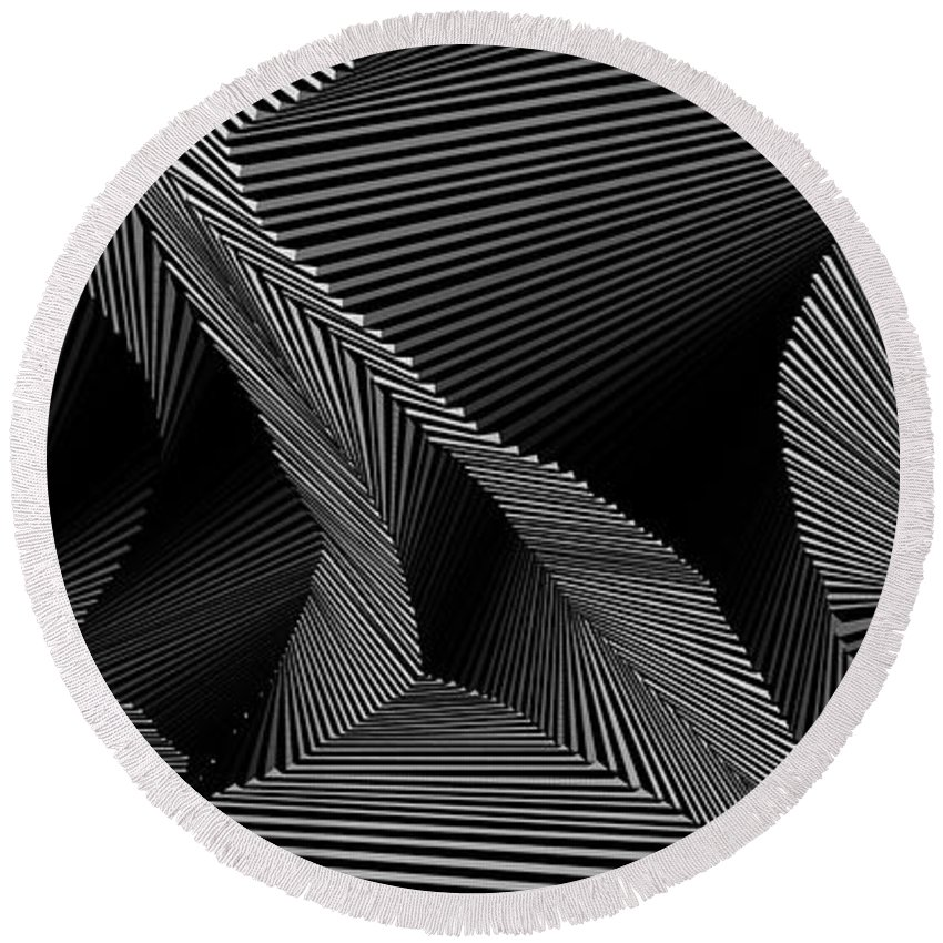 Dynamic Black And White Round Beach Towel featuring the painting Gnicartraeh by Douglas Christian Larsen