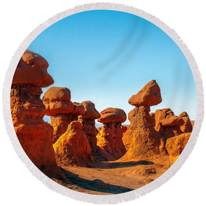 Goblin Valley Round Beach Towel featuring the photograph Gnomes by Robert Bales