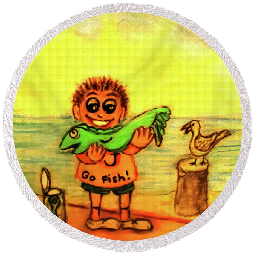 Little Boy Round Beach Towel featuring the painting Go Fish by Hazel Holland