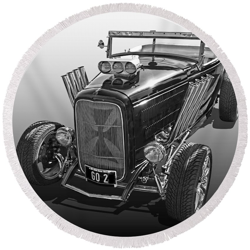 Ford Hot Rod Round Beach Towel featuring the photograph Go Hot Rod In Black And White by Gill Billington