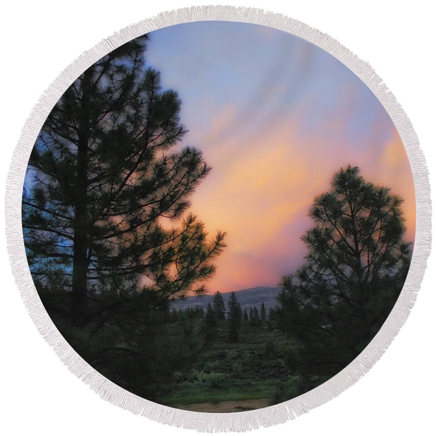 Landscape Round Beach Towel featuring the photograph Go Softly Into The Night by Donna Blackhall