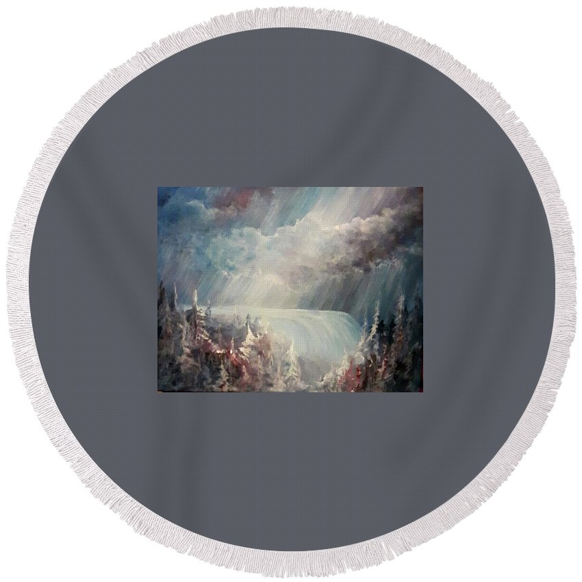 Heaven Round Beach Towel featuring the painting Go With The Flow by Jacquie Potvin Boucher