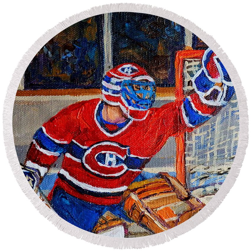 Hockey Round Beach Towel featuring the painting Goalie Makes The Save Stanley Cup Playoffs by Carole Spandau