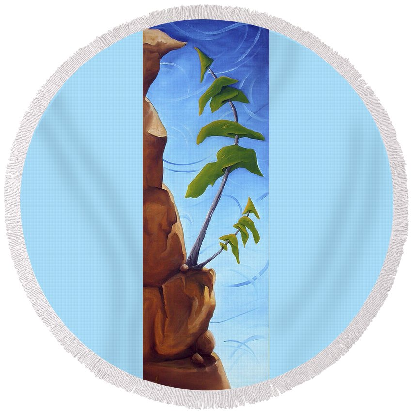 Landscape Round Beach Towel featuring the painting Goals by Richard Hoedl