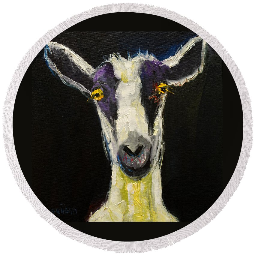 Goat Round Beach Towel featuring the painting Goat Gloat by Diane Whitehead