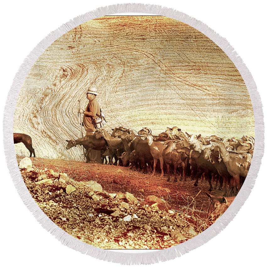 Goats Round Beach Towel featuring the photograph Goatherd by Mal Bray