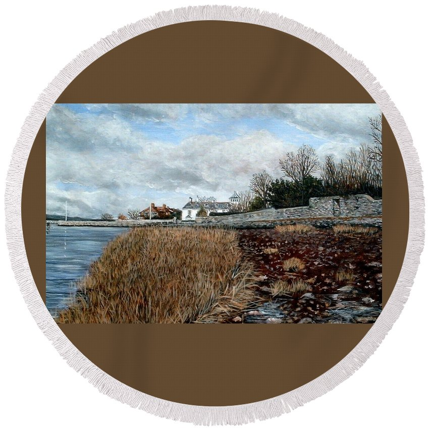 Topsham Round Beach Towel featuring the painting Goats Walk Topsham Devon At Low Tide by Mackenzie Moulton