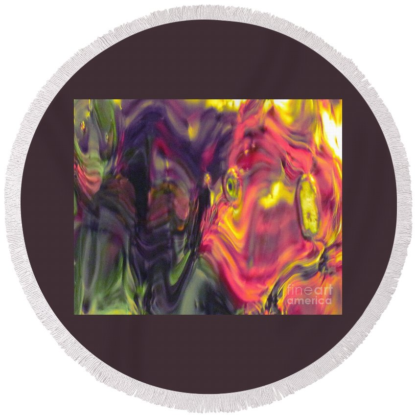 Abstract Round Beach Towel featuring the photograph Trickster Goblins Of Our Minds by Sybil Staples