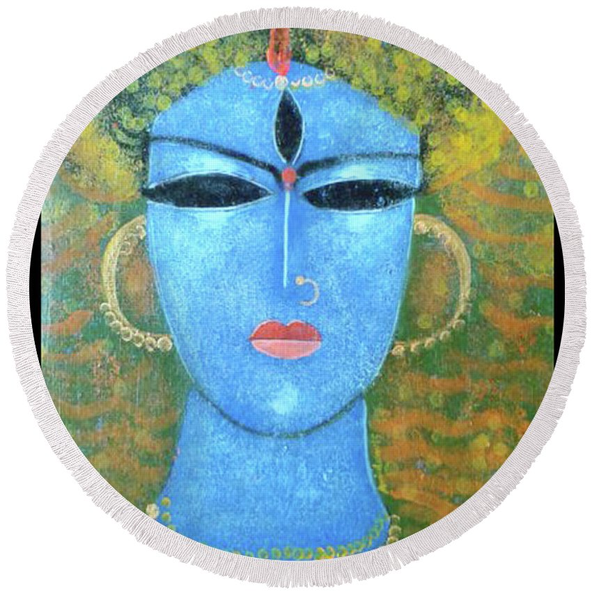 God Round Beach Towel featuring the painting GOD by Arindam Chakraborty