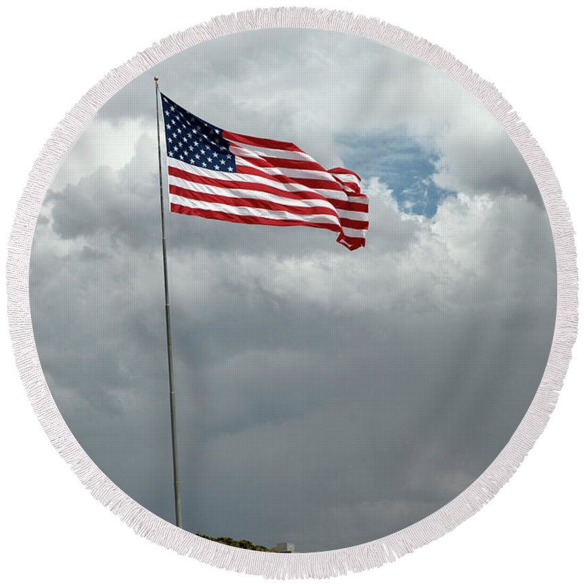 Flag Round Beach Towel featuring the photograph God Bless America by Frank Henley