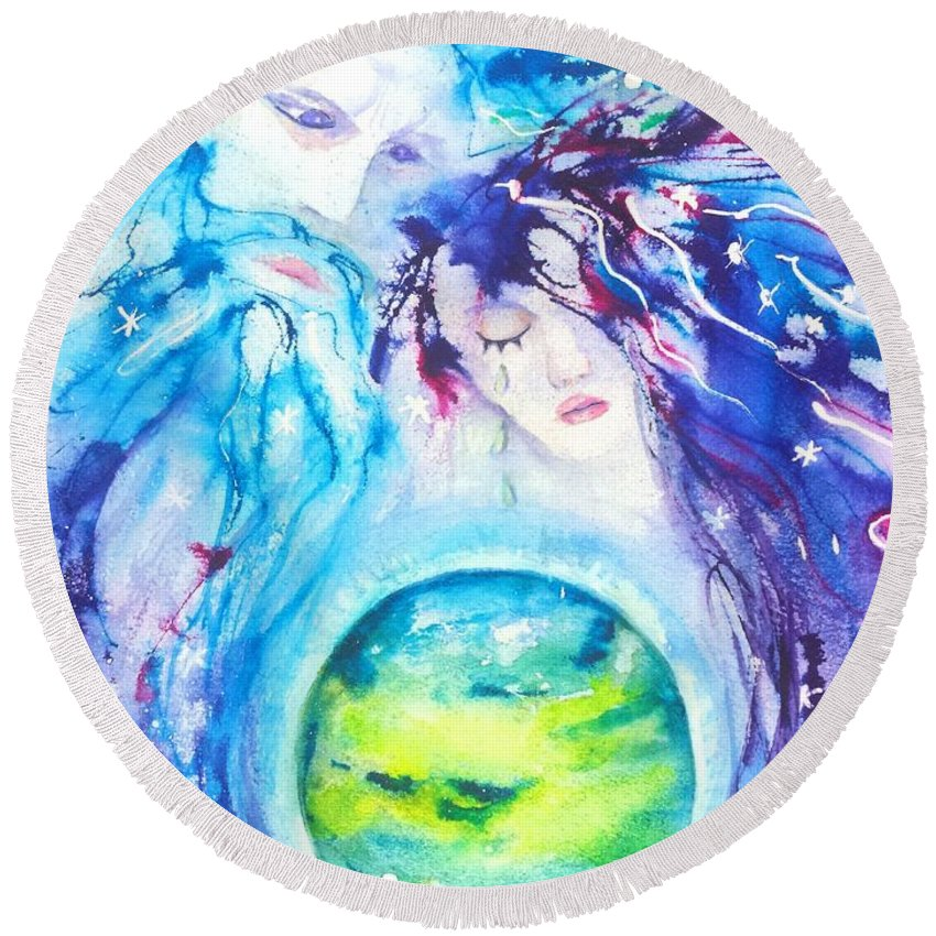 Goddess Round Beach Towel featuring the painting God, Goddess, Earth Ripple Effect by Carlin Blahnik CarlinArtWatercolor
