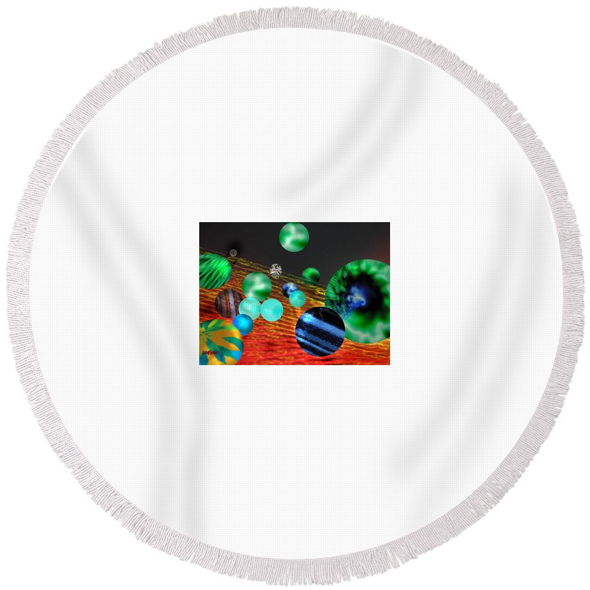 A Tribute To Donovan And His Song cosmic Wheels. A Line In The Song...god Is Playing Marbles With Round Beach Towel featuring the digital art God Playing Marbles Tribute To Donovan by Seth Weaver