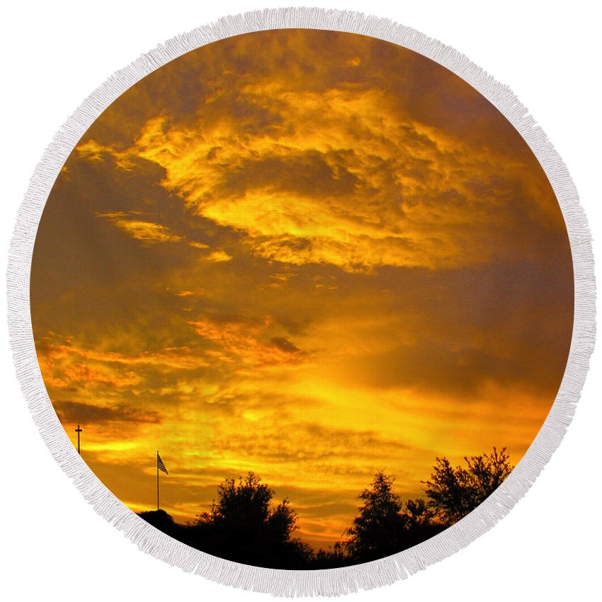Sunset Round Beach Towel featuring the photograph God Says Good Night by Adele Moscaritolo