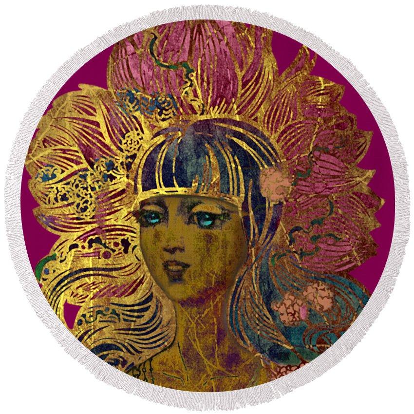 Goddess Lotus Round Beach Towel featuring the painting Goddess Lotus by Irina Effa
