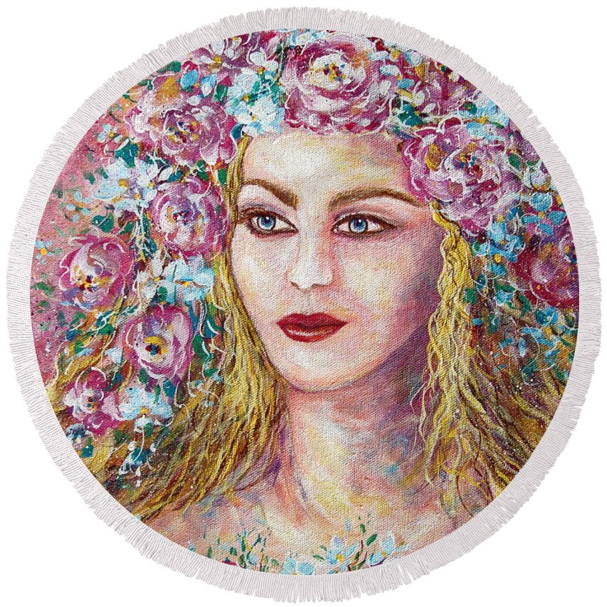 Face Round Beach Towel featuring the painting Goddess of Good Fortune by Natalie Holland