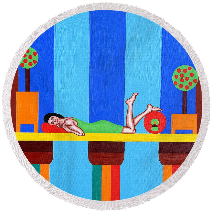 Bed Round Beach Towel featuring the painting Goddess by Patrick J Murphy