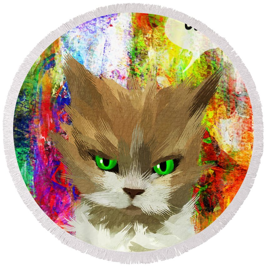 Cat Round Beach Towel featuring the painting Goddess Santia As A Cat 687 by Maciej Mackiewicz
