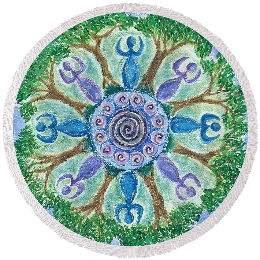 Goddess Round Beach Towel featuring the painting Goddesses Dancing by Charlotte Backman